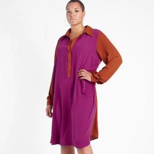 SIDE BUTTON SHIRT DRESS